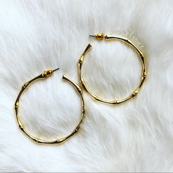 Gold Bamboo Stick Hoops